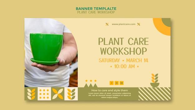 Banner de oficina de cuidados com plantas