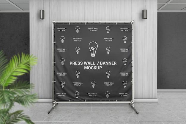 Banner de parede quadrado imprensa na maquete interior