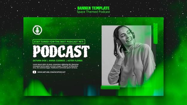 Banner de podcast com tema de espaço