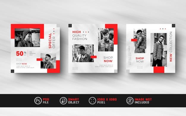 Banner de pós-venda de feed de mídia social do instagram minimalista vermelho branco