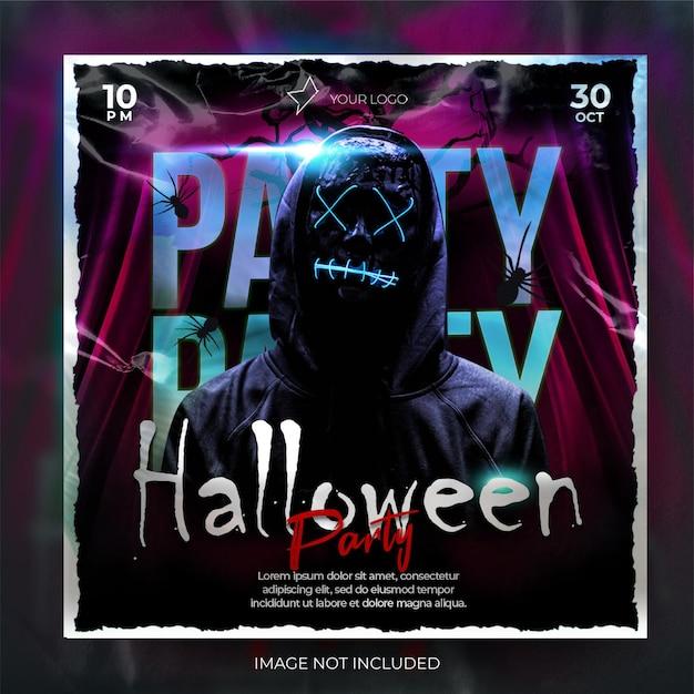 Banner de postagem de banner em mídia social para festa noturna escura de halloween