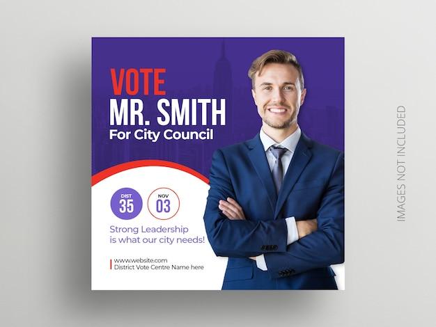 Banner de postagem de instagram de mídia social eleitoral e modelo de flyer quadrado