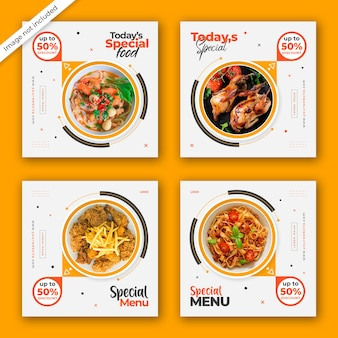 Banner de postagem de mídia social com conceito de menu de comida especial