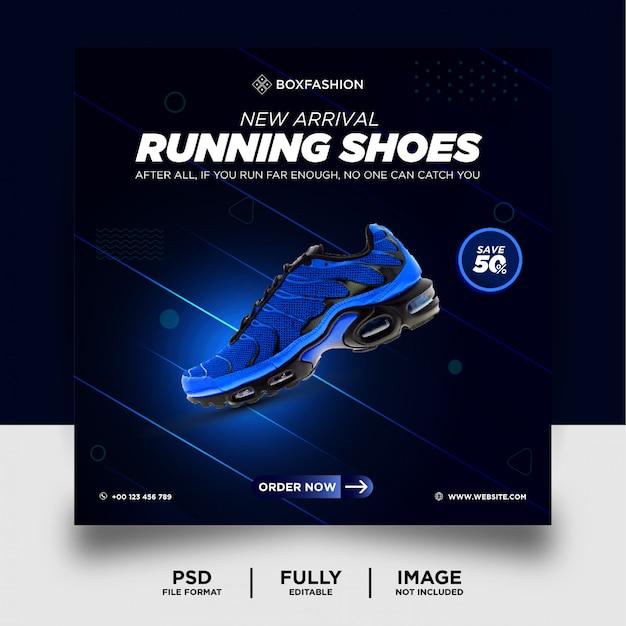 Banner de postagem de mídia social de produto de marca de tênis de corrida
