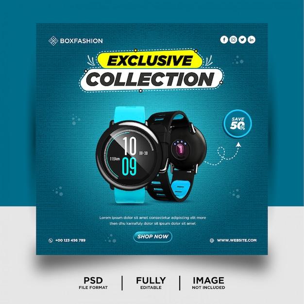 Banner de postagem de mídia social de produto de marca smart watch