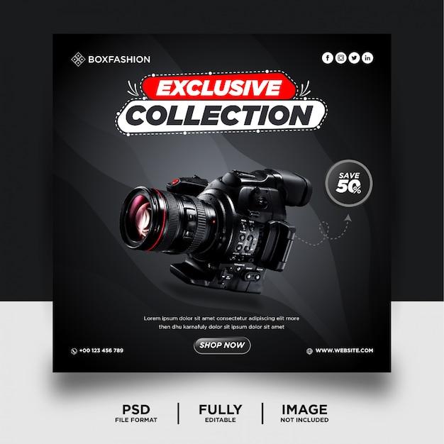 Banner de postagem de mídia social do produto da marca da câmera