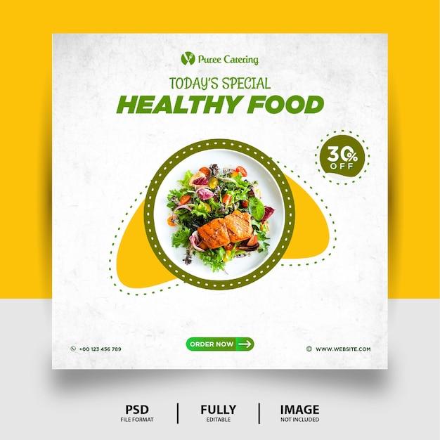 Banner de postagem de mídia social verde saudável com comida especial