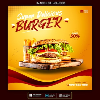 Banner de postagem do instagram de mídia social de hambúrguer alimentar