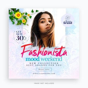 Banner de postagem em mídia social de venda de moda