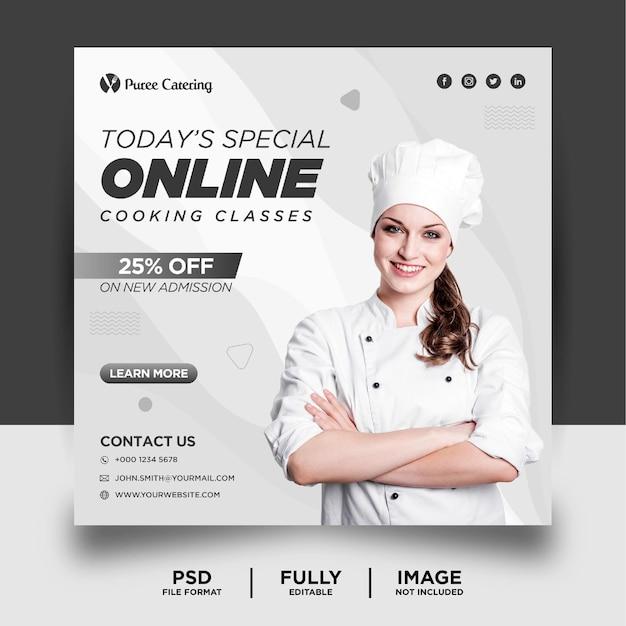 Banner de postagem em mídia social para promoção de aula de culinária on-line em cinza