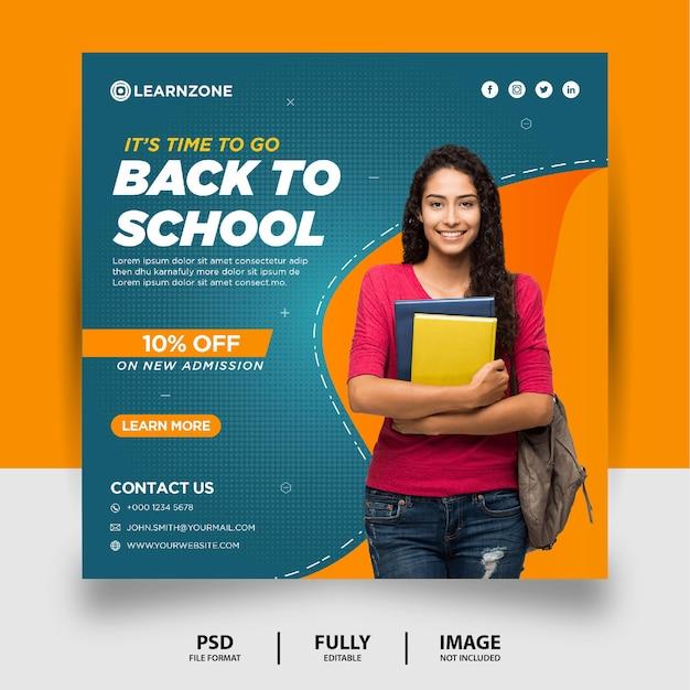 Banner de postagem nas mídias sociais para promoção de volta às aulas na cor laranja azul-petróleo