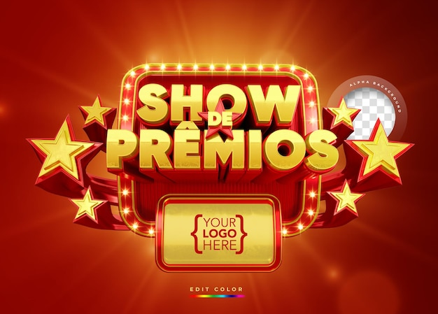 Banner de prêmios em 3d mostra modelo de promoção brasil