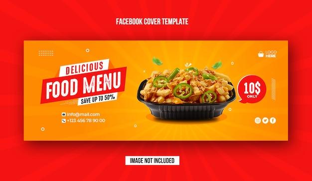 Banner de promoção de alimentos e modelo de capa do facebook