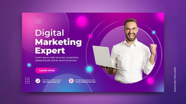 Banner de promoção de marketing de mídia social de agência de marketing digital com fundo moderno psd template