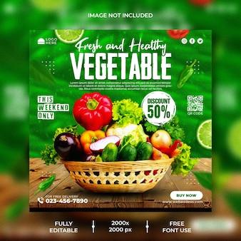 Banner de promoção de mídia social de vegetais e modelo de design de postagem no instagram