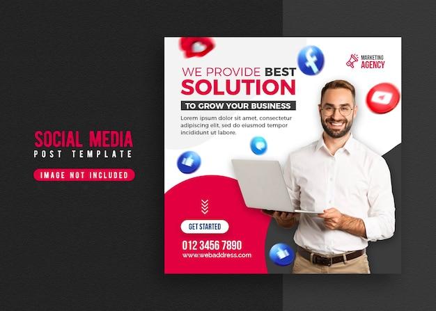 Banner de promoção de negócios e modelo de postagem de mídia social corporativa