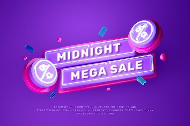 Banner de promoção de título de desconto em luz de néon 3d