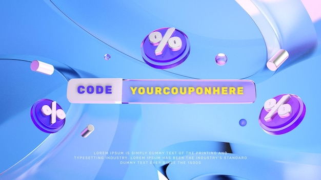 Banner de promoção de venda com desconto 3d glass look
