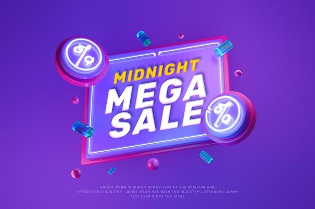 Banner de promoção de venda com desconto de néon