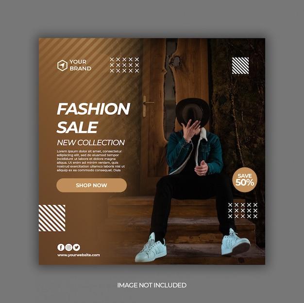 Banner de promoção de venda de moda para modelo de postagem de mídia social
