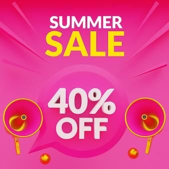 Banner de promoção de venda de verão com desconto de até 40