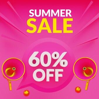 Banner de promoção de venda de verão com desconto de até 60