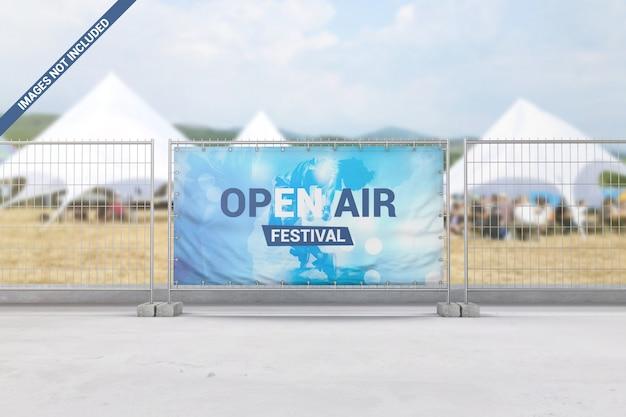 Banner de publicidade no maquete de cerca de segurança