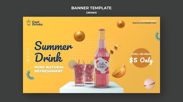 Banner de puro refresco de bebidas de verão
