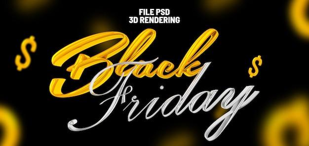 Banner de renderização 3d da black friday