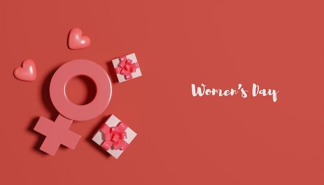 Banner de renderização 3d do dia da mulher com caixa de presente e símbolo feminino