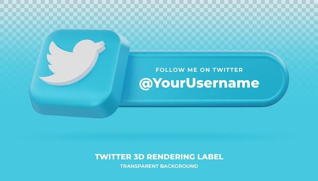 Banner de renderização 3d do twitter isolado