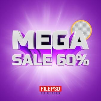 Banner de renderização 3d mega venda 60
