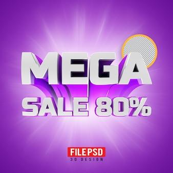 Banner de renderização 3d mega venda 80