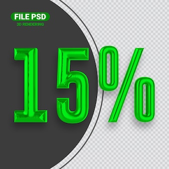 Banner de renderização 3d verde número 15