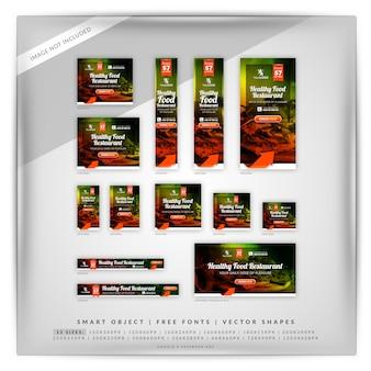 Banner de restaurante de comida saudável