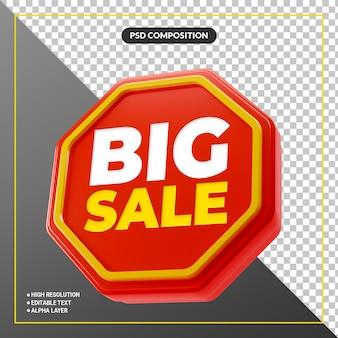 Banner de rótulo promocional de grande venda 3d