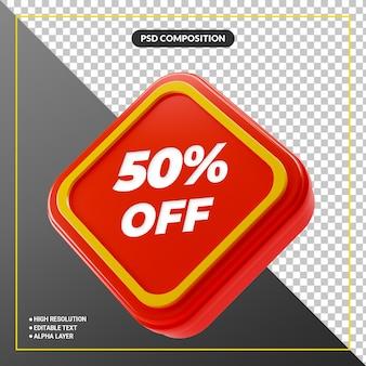 Banner de rótulo promocional de venda com desconto 3d vermelho