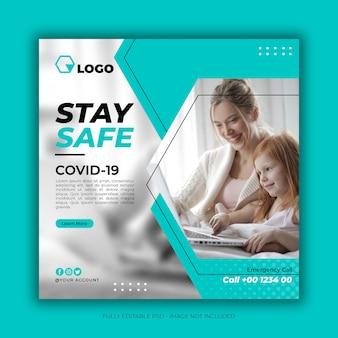 Banner de saúde com tema de prevenção de coronavírus