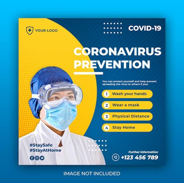 Banner de saúde com tema de prevenção de vírus