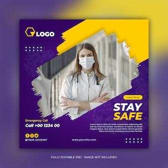 Banner de saúde de mídia social com tema de prevenção de coronavírus