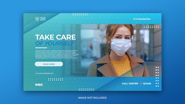 Banner de saúde médico com conceito de coronavírus do modelo de banner