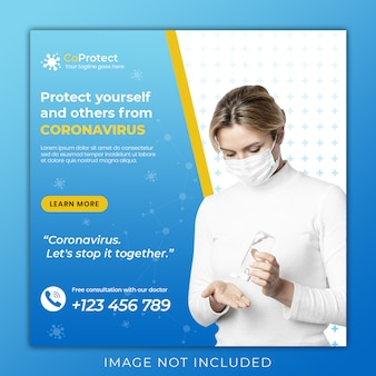 Banner de saúde médico sobre coronavírus, mídia social instagram post banner template premium psd