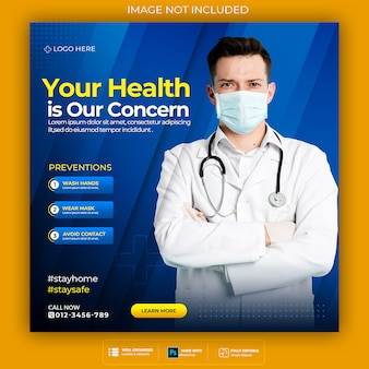 Banner de saúde médico sobre coronavírus, modelo de banner de postagem de instagram de mídia social