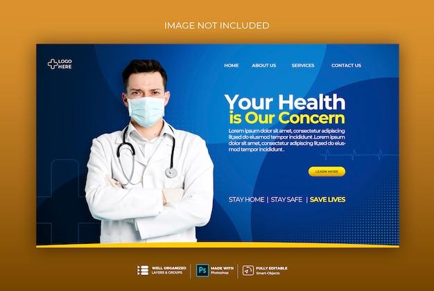 Banner de saúde médico sobre o modelo de banner da web de coronavírus