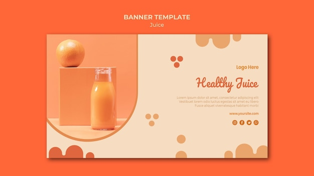 Banner de suco de laranja com foto