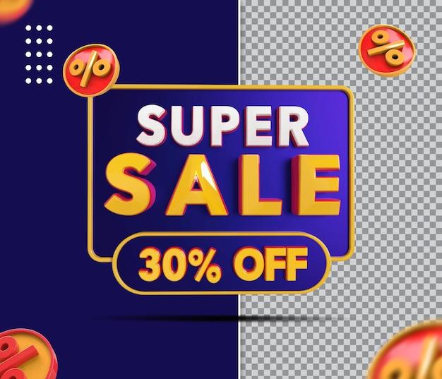 Banner de super venda 3d com 30 de desconto