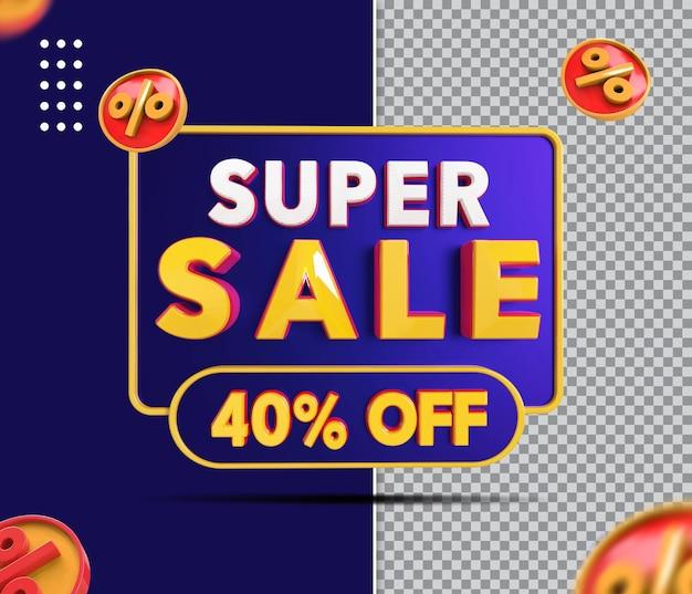 Banner de super venda 3d com 40 desconto