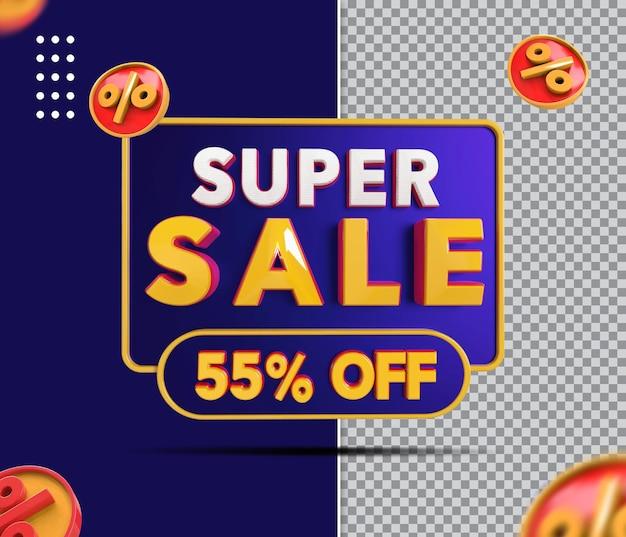 Banner de super venda 3d com 55 off