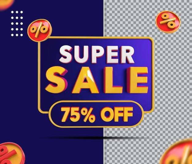Banner de super venda 3d com 75 de desconto
