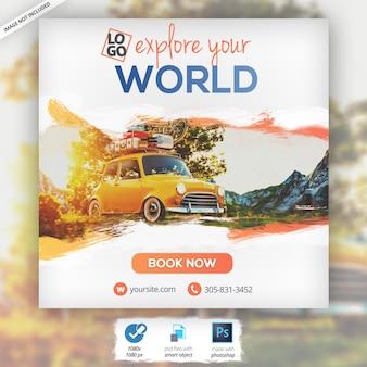 Banner de turismo de férias de viagens na web